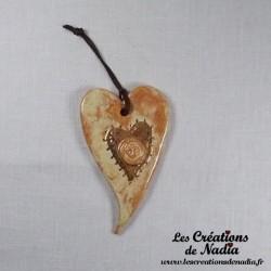 Coeur en céramique allongé en or et vanille
