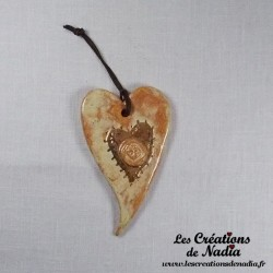 Coeur or allongé vanille