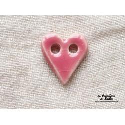 Bouton coeur rose bonbon