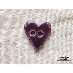 Bouton coeur aubergine