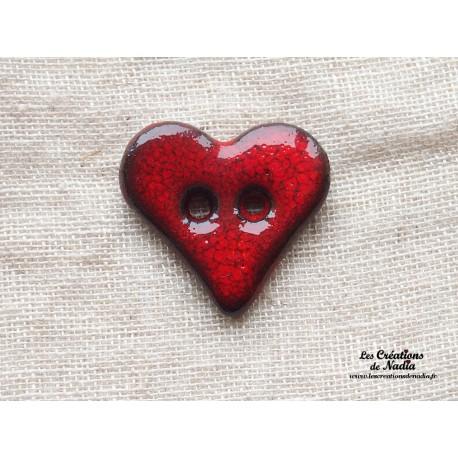Bouton coeur rouge piment