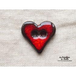 Bouton coeur rouge pomme d'amour