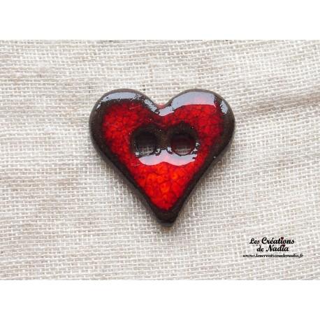 Bouton Coeur En Céramique Rouge Pomme Damour
