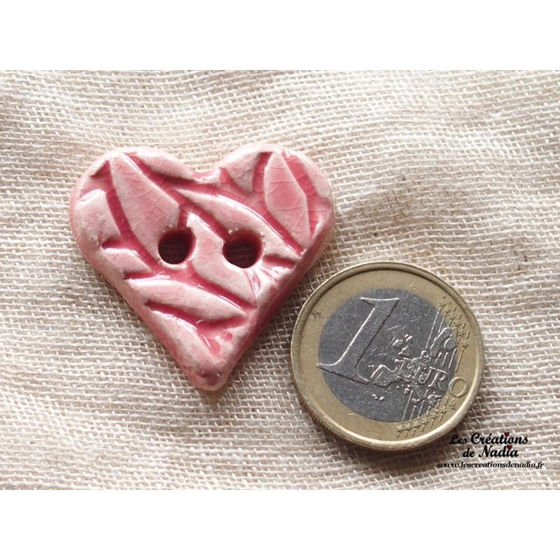 bouton coeur en c ramique rose bonbon. Black Bedroom Furniture Sets. Home Design Ideas
