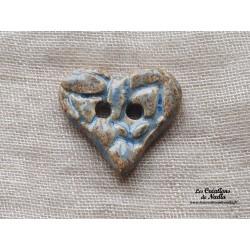 Bouton coeur bleu-gris marbré