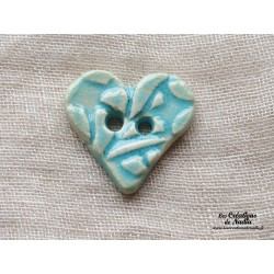 Bouton coeur turquoise