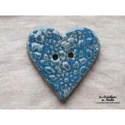 Bouton grand coeur bleu