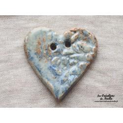 Bouton grand coeur bleu-gris marbré