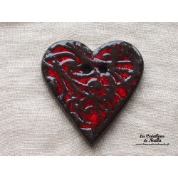 Bouton grand coeur vanille