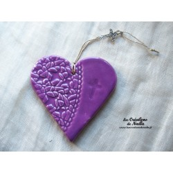 Coeur en céramique Liesel lilas breloque croix