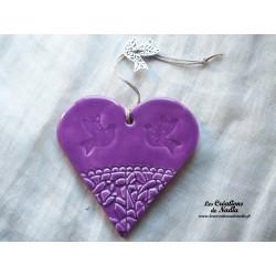 Coeur en céramique lilas breloque colombe