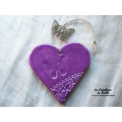 Coeur en céramique lilas breloque papillon