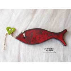 Poisson en céramique de couleur rouge pomme d'amour