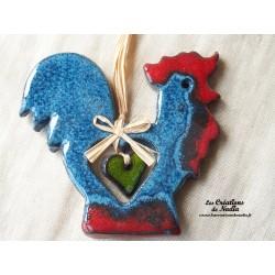 Kokorico le coq en céramique bleu