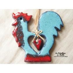 kokorico le coq en céramique bleu  turquoise