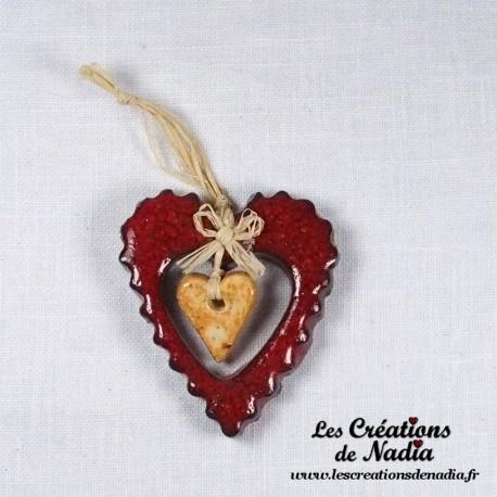 Grand coeur nature dentelé rouge piment