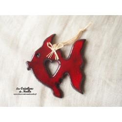Poisson queue de voile couleur rouge piment en céramique