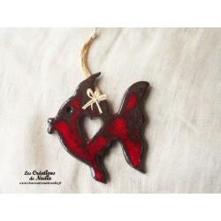Poisson queue de voile couleur rouge pomme d'amour en céramique