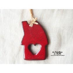 Maisonnette rouge piment en céramique