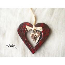 Moyen coeur nature rouge pomme d'amour en poterie