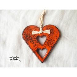 Coeur en céramique Liesel couleur orangé