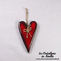 Coeur allongé rouge pomme d'amour