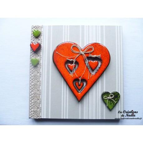 Tableau coeur Hansi en céramique orange