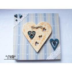 Tableau coeur Hansi en céramique de couleur biscuit