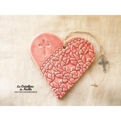 Coeur en céramique rose breloquencroix