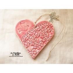 Coeur en céramique rose breloque colombe