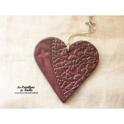 Coeur en céramique vieux rose breloque croix