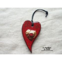 Coeur or allongé rouge piment