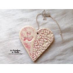 Coeur en céramique camaïeu de rose breloque colombe