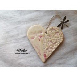 Coeur en céramique camaïeu de rose breloque libellule