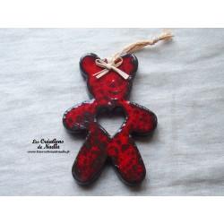 Teddy l'ourson rouge pomme d'amour