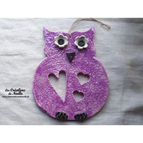 Hibou en céramique couleur lilas