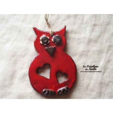 Hibou en céramique couleur rouge piment