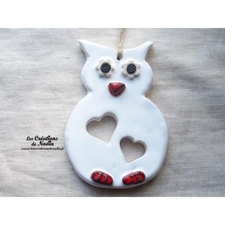 Hibou en céramique couleur blanc