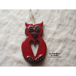 Hibou fleurs petit modèle rouge piment