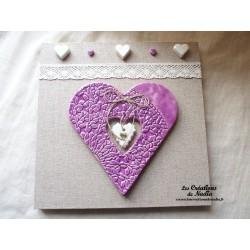 Tableau coeur Hansi en céramique lilas