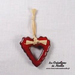 Moyen coeur dentelé rouge piment