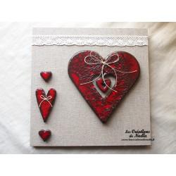 Tableau coeur Hansi en céramique rouge