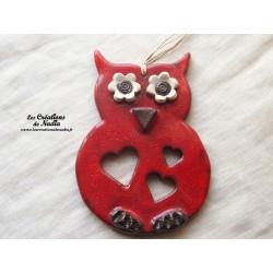 Hibou en céramique couleur rouge