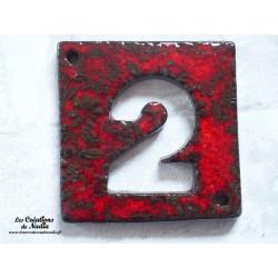Plaque numéro de maison en céramique rouge pomme d'amour fine dentelle