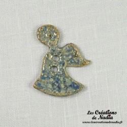 Bouton Ange couleur bleu-gris marbré