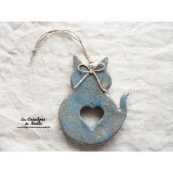 Chat en céramique couleur bleu