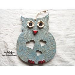 Hibou en céramique couleur bleu