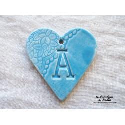 Coeur belle lettre couleur bleu lagon