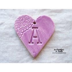 Coeur belle lettre couleur lilas