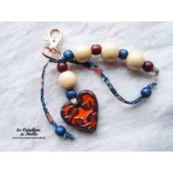 Grigri bijoux de sac porte clés orange